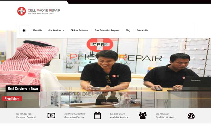 CMS website for mobile repairing company